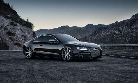 Sports Car Gray Background Black Night Road Audi Mountain