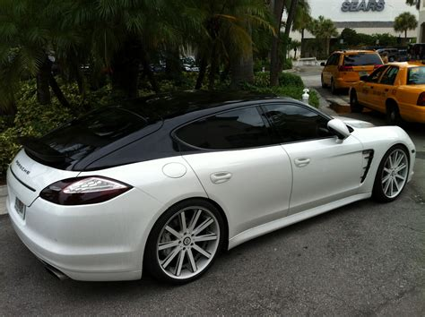 porsche white car white black porsche panamera with painted roof exotic