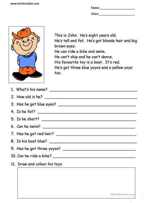 john simple reading comprehension aulas de ingles salas de aula de ingles