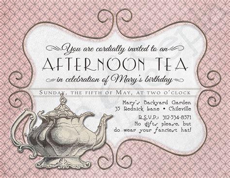 printable tea party birthday invitation    cyanandsepia