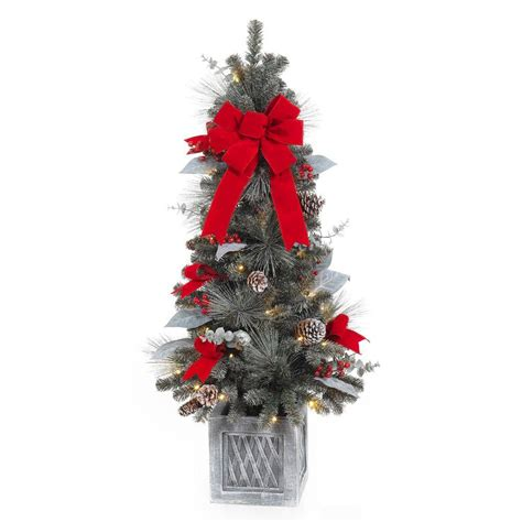 home accents holiday 4 ft pre lit snowy pine porch