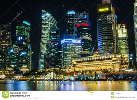 Singapore Business District Skyline And River Editorial