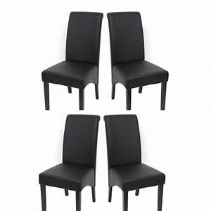 set de 4 chaises de salle a manger en simili cuir noir mat With meuble salle À manger avec chaise salle a manger simili cuir noir