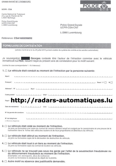 modele lettre contestation pv autre conducteur contestation infraction radar automatique