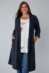 Navy Panelled Duster Jacket With Waterfall Front  U0026 Half
