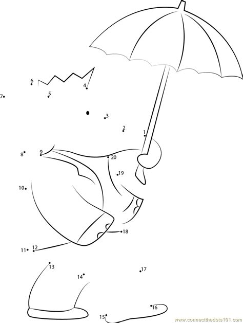 babar with umbrella dot to dot printable worksheet connect the dots