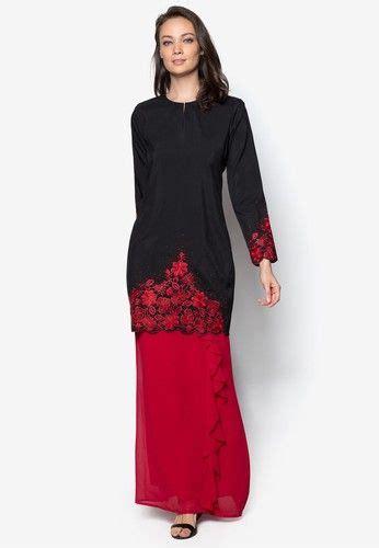 Make poplook.com your number one choice for muslimah baju kurung when you shop online. Ladies Baju Kurung Moden from Gene Martino in Black and Red (Dengan gambar)   Baju kurung