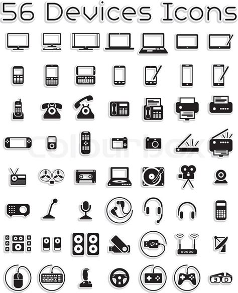 vector icons set covering electronic stock vector