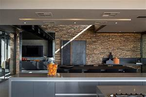 Contemporary Kitchen Stone Wall Dining Table Luxurious