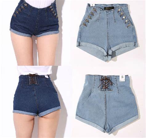 2014 mulheres calca espu00f3lio denim shorts de cintura alta para feminino feminina senhorita ...