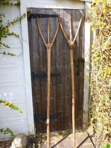 Antique Victorian Primitive Wooden Hay Forks Pitch