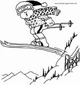 Coloring Pages Skiing Ski Printable Sports Slope Sheets Sheet Template sketch template