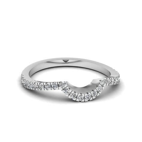 pave curved diamond womens wedding band   white gold