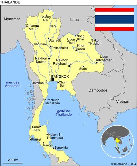 Thailande Carte Geographique Monde by Thailande Geographie