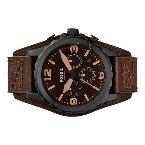 Fossil Herren Uhr Armbanduhr Edelstahl Leder JR1511 Nate