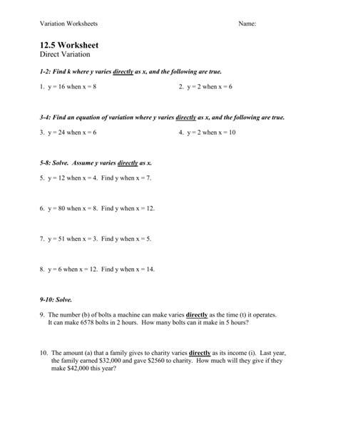 direct  inverse variation worksheet answers newatvsinfo