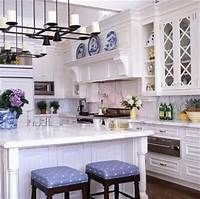 blue and white kitchen The Glam Pad: 25 Classic White Kitchens with Blue & White Accessories