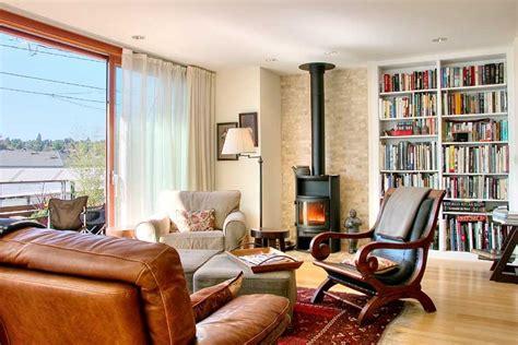 cognac leather sofa living room modern  area rug