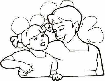 Coloring Daughter Mother Mothers Mom Hug Cartoon