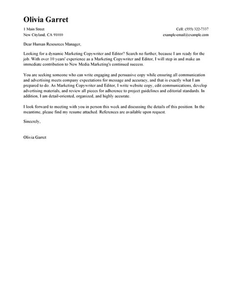 Editor Cover Letter by Free Copywriter And Editor Cover Letter Exles