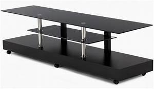 Meuble Laqué Noir : meuble tv raffi laque noir et verre meuble tv topkoo ~ Premium-room.com Idées de Décoration