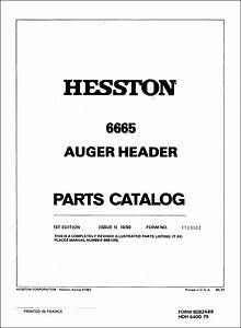 Hesston 6665 Parts Manual For Auger Header Service