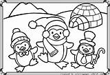 Penguin Coloring Pages Christmas Penguins Printable Bear Polar Popular sketch template