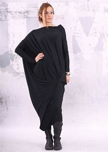 robe noire lache maxi robe tunique oversize robe With maxi robe noire
