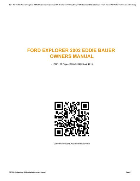 ford explorer  eddie bauer owners manual  uacro issuu