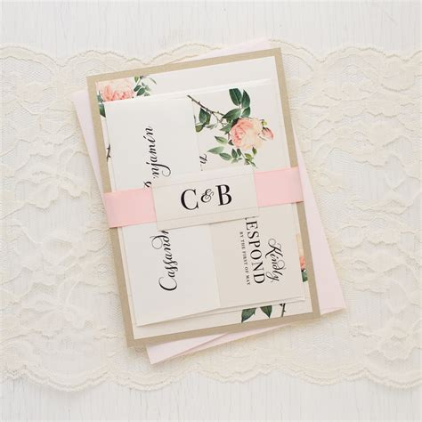 blush wedding invitations ivory blush floral customizable wedding invitations 1989