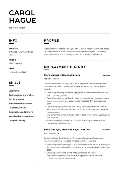Skills And Abilities Resume Exle by Store Manager Resume Sle Template Exle Cv Formal