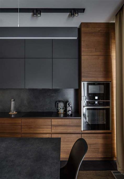 outro modelo de cozinha preta  madeira cozinhas modernas