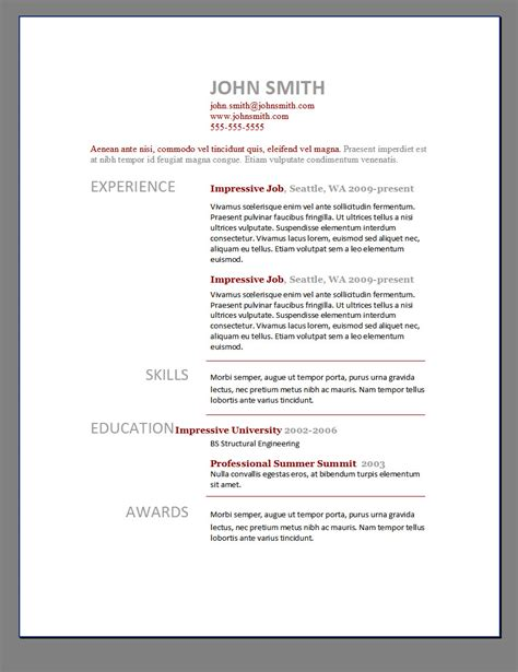 Free Microsoft Word Resume Templates 2012 by Primer S 6 Free Resume Templates Open Resume Templates