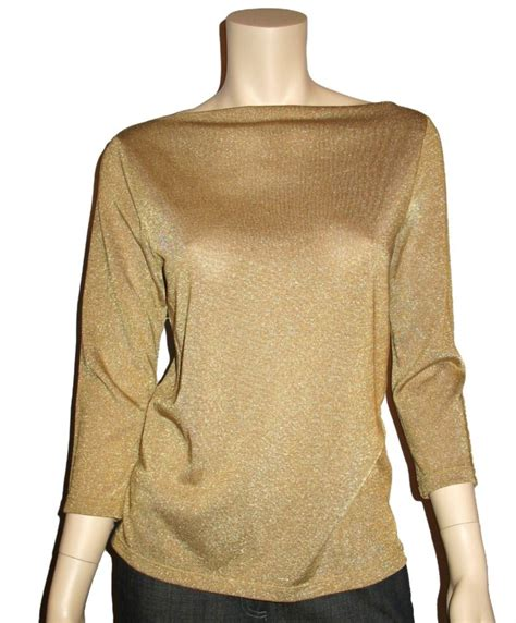 Ralph Lauren Womens Gold Metallic Knit Top Blouse