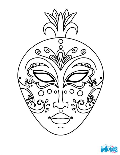 Coloring Mask by Venice Mask Coloring Pages Hellokids