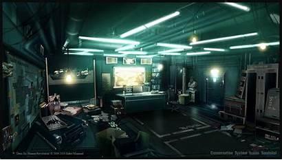 Office Space Deus Ex Futuristic Concept Cyberpunk