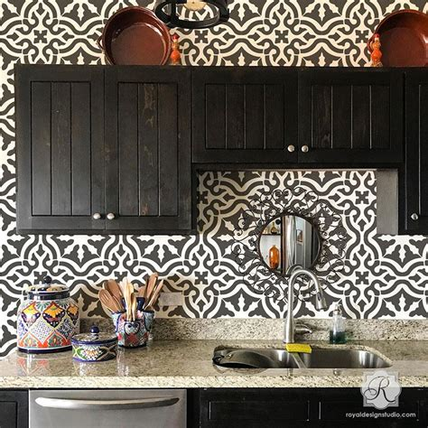 kitchen tile stencils tile stencils for walls floors and diy kitchen decor 3289