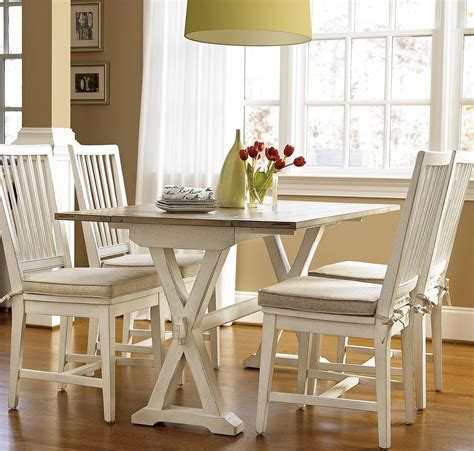 Coastal Beach White Drop Leaf Kitchen Console Table   Zin Home