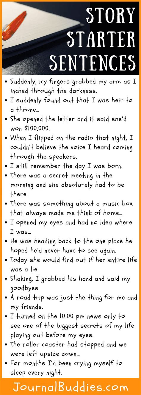 story starter sentences book writing tips writing