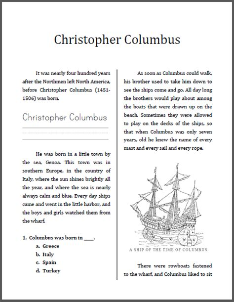 christopher columbus unit workbook this is designed for students in grades 2 4 depending