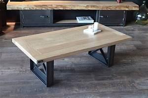 Pied De Table Basse Metal Industriel : table basse en bois et metal industrielle style ~ Teatrodelosmanantiales.com Idées de Décoration