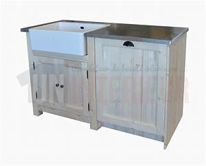Evier Avec Meuble : meuble vier avec timbre d 39 office et espace lave vaisselle pin massif zinc ~ Teatrodelosmanantiales.com Idées de Décoration