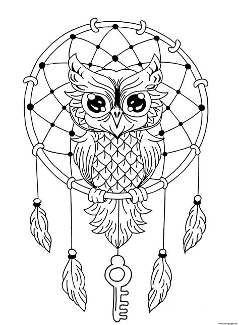 mandala owl dreamcatcher coloring pages printable