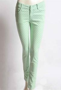 Jeans Pocket Design Skinny Jeans Retrospective Games Polka Dot Pastel Green