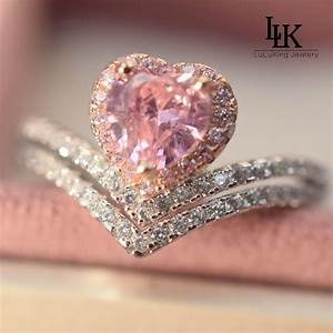 Popular heart pink diamond buy cheap heart pink diamond for Pink diamond wedding rings