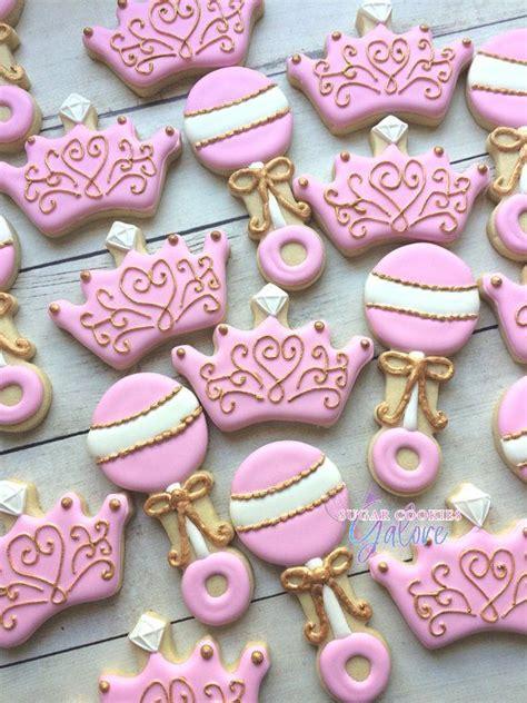 dozen princess baby shower sugar cookies pink gold