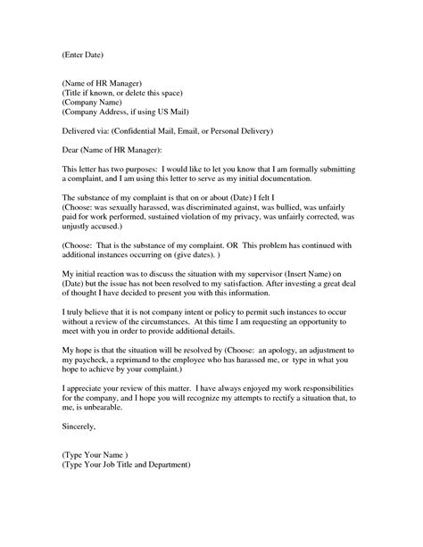 sle complaint letter to human resources about manager sle letter of complaint against human resources 24561