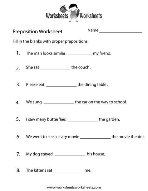 preposition practice worksheet  printable