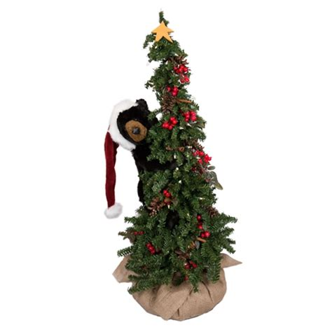 ditz designs climbing christmas tree bear  black bear