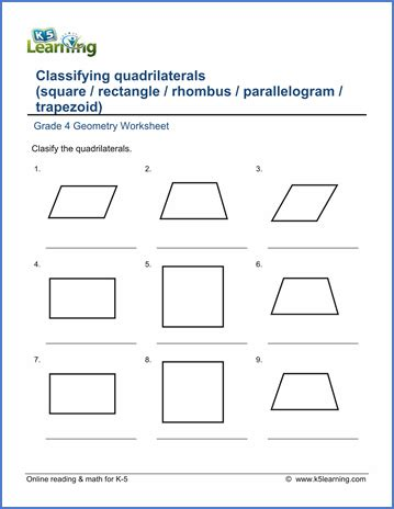grade 4 geometry worksheets classifying quadrilaterals k5 learning